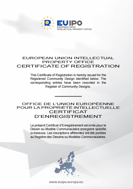 EUROPE UNION INTELLECTUAL PROPERTY OFFICE CERTIFICATE OF REGISTRATION